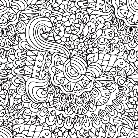 batik: Sketchy doodles decorative floral and curves outline ornamental seamless pattern