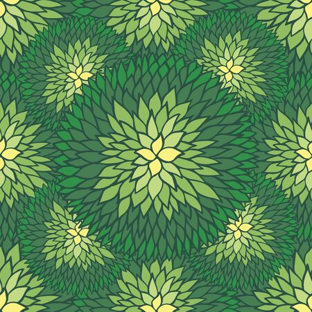 spring flower: Sketchy doodle decorative daisies outline ornamental seamless pattern in green and yellow colors