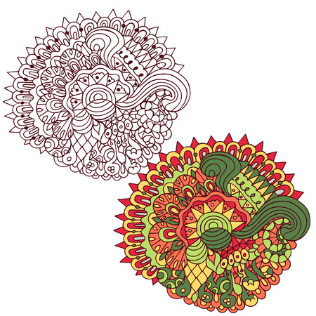 spiral: Red and green ethnic floral design, doodle background composition in two variations. Black and white pattern for coloring book for adults and kids.