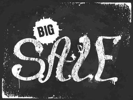 spoil: Grunge white Big Sale lettering with splash on black background, vector illustration. Can be used for poster, advertising, web.