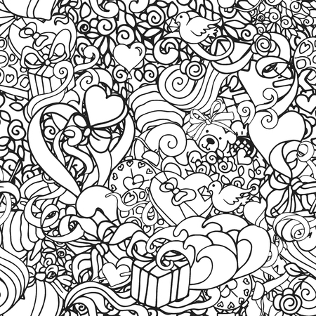 romantic couples: Black and white doodle abstract decorative Love vector seamless pattern with curls, hearts, presents, roses, etc.