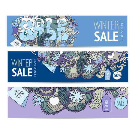cold colors: Cartoon sketchy vector Doodle cards on the subject of Winter sale. Horizontal banners design templates set in cold colors