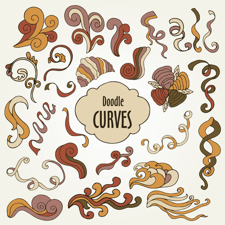 hand colored: Colored sketchy hand drawn Doodle cartoon set of curves and swirls, vector decorative elements
