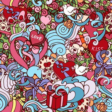 Kleurrijke doodle abstracte decoratieve Liefde vector naadloze patroon met krullen, harten, cadeautjes, rozen, enz. Stock Illustratie