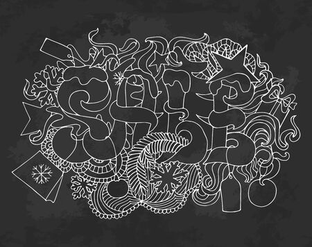 doodle text: Sale and discount card, banner, poster. Winter sale title. Hand drawn white contour letters composition isolated on black background. Doodle text and shopping elements