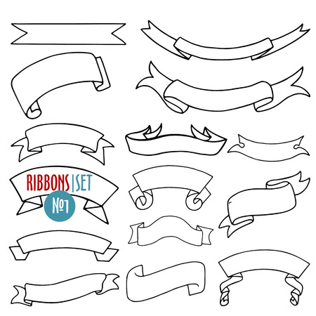 collection number: Vector set of ribbons and banners in contour doodle style on white background, collection number one Illustration