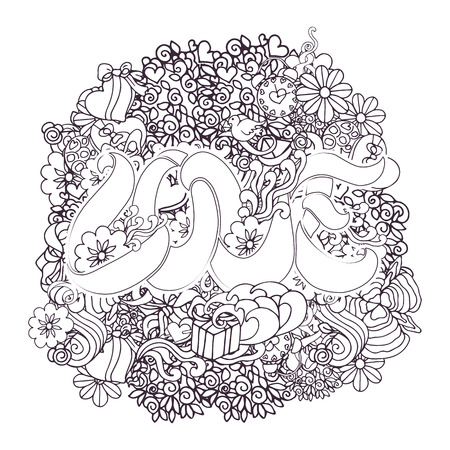 composition book: Decorative love composition with ribbon lettering, hearts, flowers, ornate elements in doodle style. Cartoon design elements. Black and white background for coloring book page