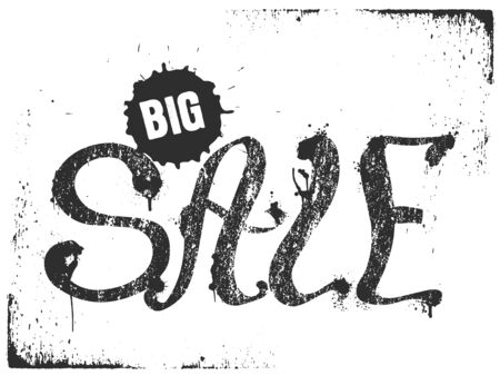 Grunge black Big Sale lettering with splash on white background, vector illustration. Can be used for poster, advertising, web. Illustration