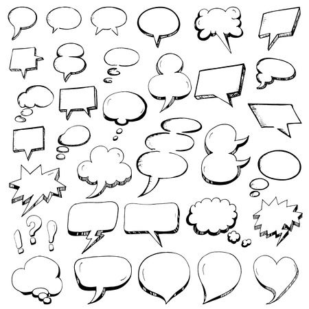 Vector Collection of Hand Drawn Speech Bubbles in doodle outline style