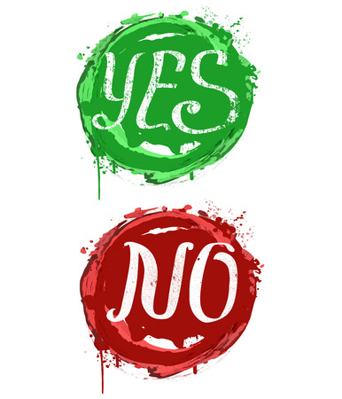yes no: Yes, No composition with splashes - typography card, poster template in red and green colors. Vector vintage letterpress grunge effect