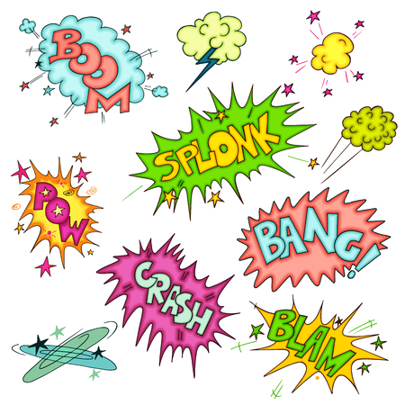 zap: Vector cartoon Collection of doodle multicolored comic sound Effects on white background