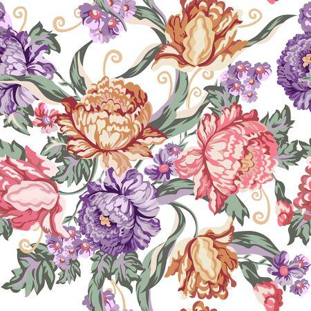 Modelo inconsútil de la flor y de los rizos de la vendimia en el fondo blanco, ilustración del vector para la materia textil, postal, diseño del papel pintado