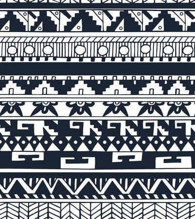 native american baby: Seamless ethnic geometric doodle monochrome pattern in vector. Aztec tribal design