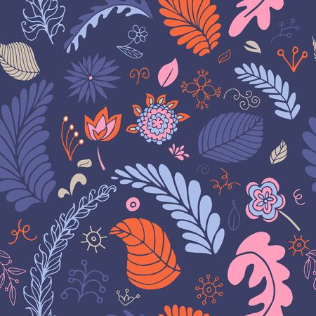 doodle art: Colorful vector floral seamless pattern with abstract flowers, branches and leaves