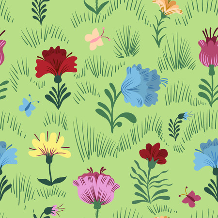 pink flower: Seamless colorful  flower and grass vector pattern on green background Illustration