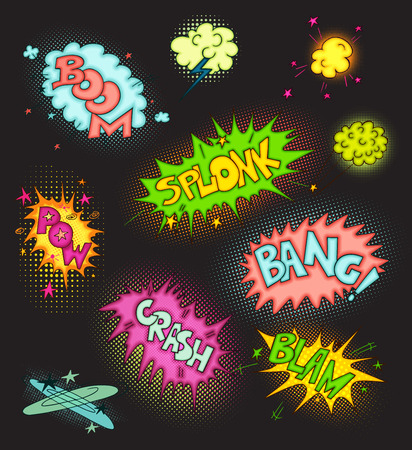 zap: Vector cartoon Collection of doodle multicolored comic sound Effects with halftone on black background