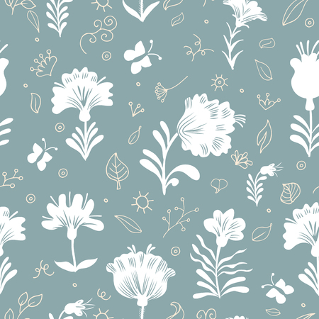 Seamless floral wallpaper. Pattern in classic style with flowers and doodle elements. Beige and white ornament on blue background