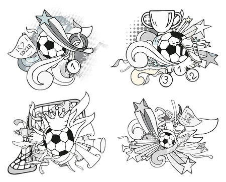 Doodle grayscale soccer compositions with sport objects and decoration elements. Vector collection. Hand drawn outline style for banner, poster, advertisement