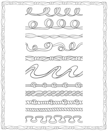 kid drawing: Set of monochrome Seamless Pattern Brushes in outline style. Doodle ribbons easy to use for frames, borders, decorations