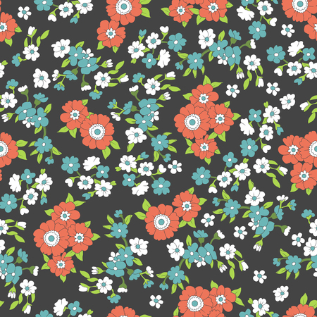 Seamless colorful vector pattern with red, blue flowers and leaves on black background