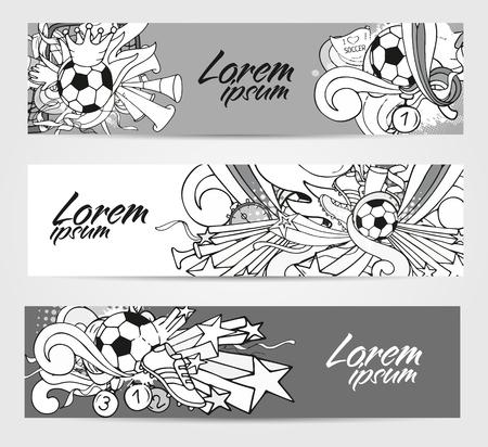Doodle grijstinten banners met voetbal voorwerpen en decoratie-elementen. Vector collectie. Hand getrokken schets stijl voor web, poster, reclame Vector Illustratie