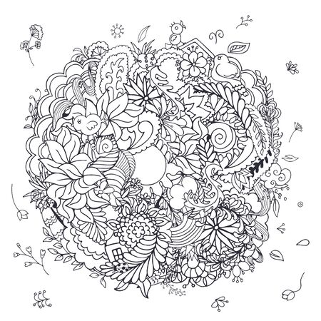 composition book: Floral doodle composition with flowers, birds, sun and other spring elements in black and white colors. Easy to use for coloring book, poster