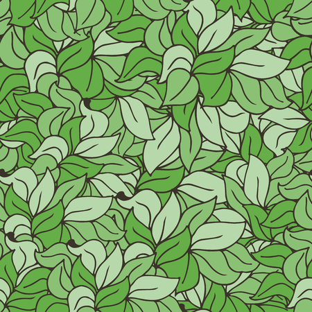 Seamless green doodle vector pattern with leaves or grass in outline style