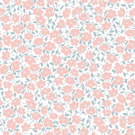 ピンクの花と白い背景の葉とパステルのシームレス パターン