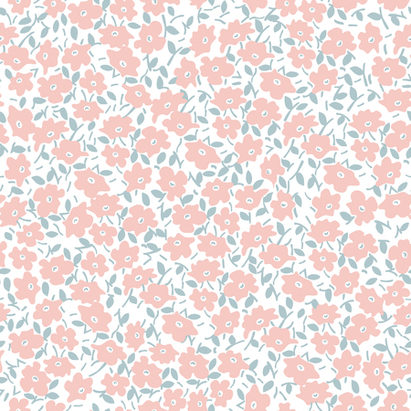 Seamless pastel vector pattern with pink flowers and leaves on white background