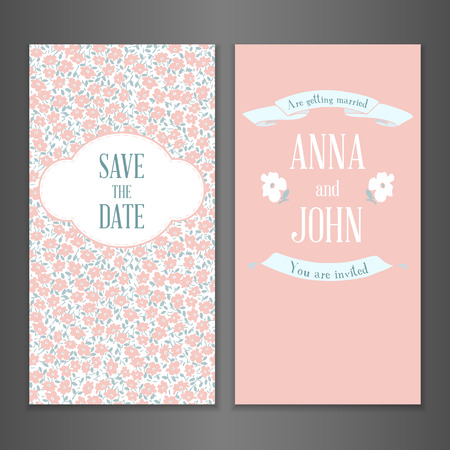 baby shower party: Vintage vector floral card template in pastel colors. Can be used for Save The Date, baby shower, mothers day, valentines day, birthday cards, invitations Illustration