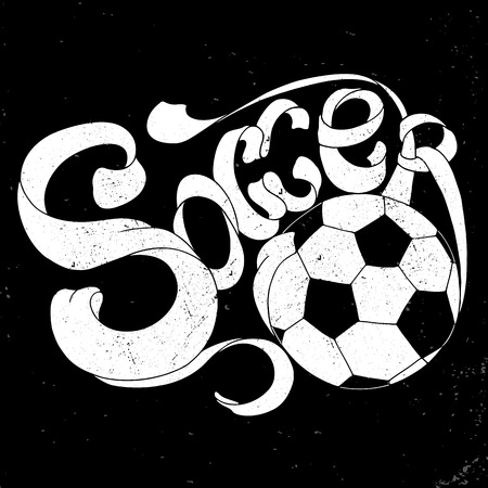 be the identity: White grunge Soccer Hand lettering label in chalk style on black background. Can be used for design, presentations, brochures, sports equipment, corporate identity, sales