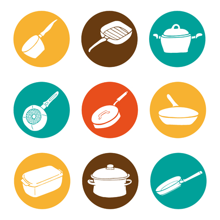 cookware: Colorful kitchen doodle cookware flat icons set, vector collection
