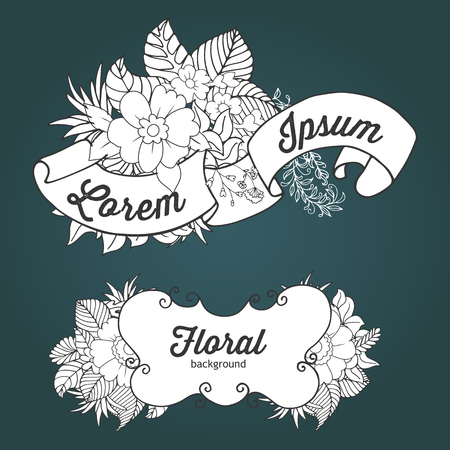 compositions: Floral outline doodle compositions with banner for text and floral elements on dark background. Very useful for greeting, invitation, poster