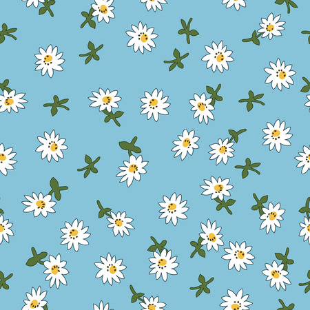 Seamless daisy pattern on blue background, vector illustration for textile, postcard, wallpaper design