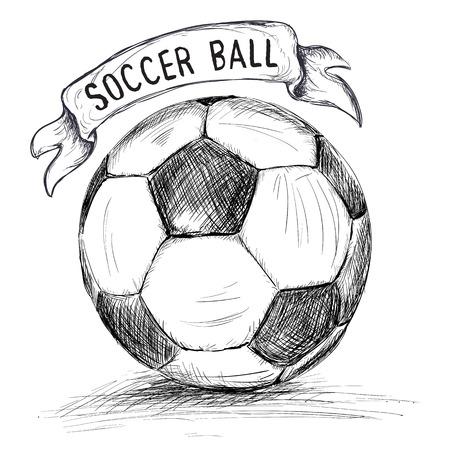 pieds sales: Hand drawn illustration vectorielle avec la boule et la bannière de soccer ou de football, dans les grandes lignes de style doodle Illustration