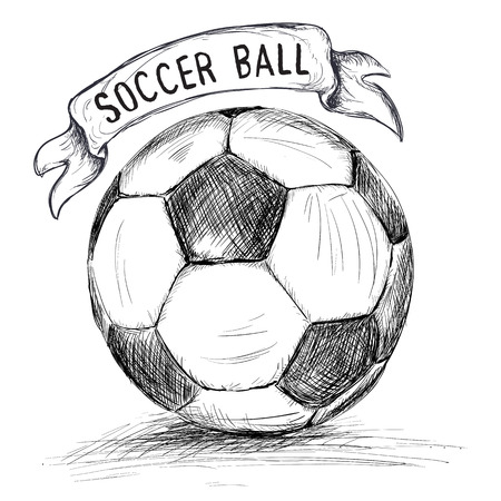 Hand drawn vector illustration with soccer or football ball and banner, in doodle outline style