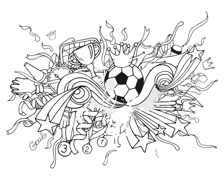 soccer coach: Doodle white soccer composition with sport objects and decoration elements. Vector illustration. Hand drawn outline style for banner, poster, advertisement