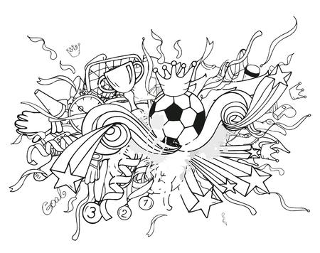 portero de futbol: Garabatos composici�n del f�tbol blanco con objetos deportivos y elementos de decoraci�n. Ilustraci�n del vector. estilo de contorno dibujado a mano para la bandera, cartel, anuncio