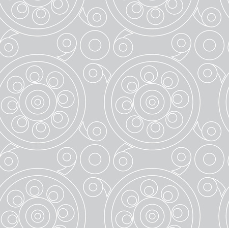 slavic: Vector seamless pattern. Vintage stylish slavic ornament with circles and curls on gray background. Very useful