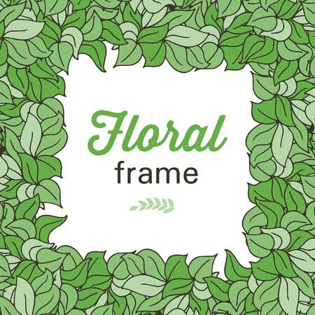 square frame: Doodle colorful abstract floral square frame with leaves or grass in outline style