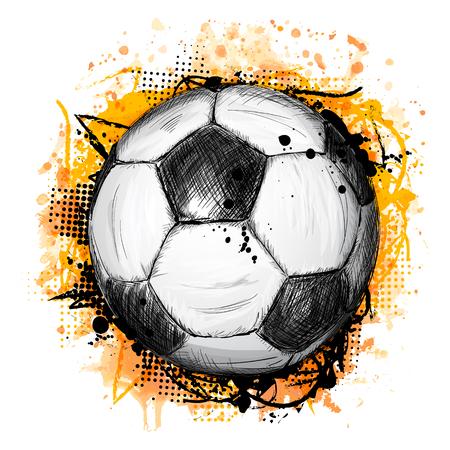 サッカーやサッカー ボール、グランジ組成落書きスタイルで、オレンジ色の水彩背景と描かれたベクター イラストを手します。