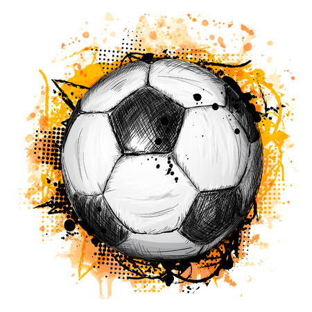 Hand drawn vector illustration with soccer or football ball, grunge composition and orange watercolor background, in doodle style Ilustração