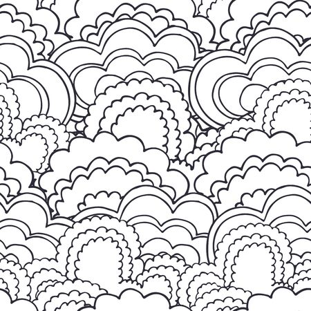 hand cartoon: Abstract bushes forest seamless pattern background in outline doodle style
