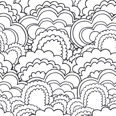 buisson: forêt de buissons Abstract seamless pattern background dans le style de griffonnage de contour Illustration