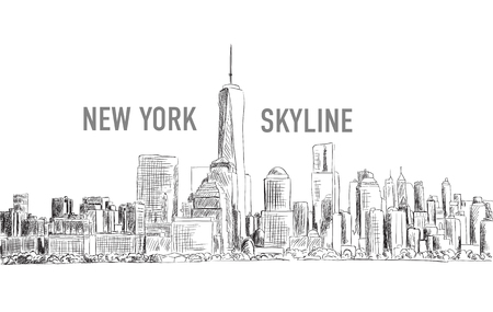 down town: New York city, vector drawing in sketch outline style for your design