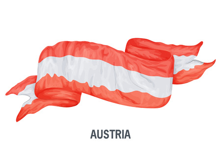 Waving flag of Austria. Vector illustration drawed in cartoon colorful style