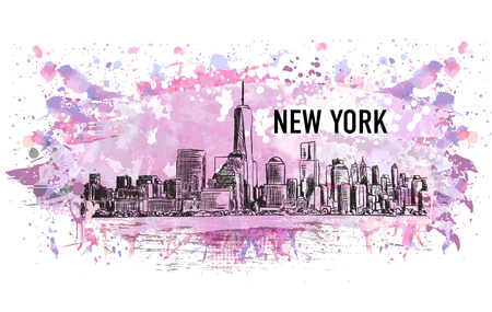 New York city, vector drawing in sketch style in colorful grunge and watercolor shape. Very useful for poster, banner, travel