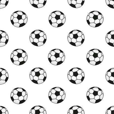 tourney: Seamless pattern with cartoon soccer balls  for sports themes decoration on white background
