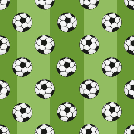 tourney: Seamless pattern with cartoon soccer balls  for sports themes decoration on green background with stripe