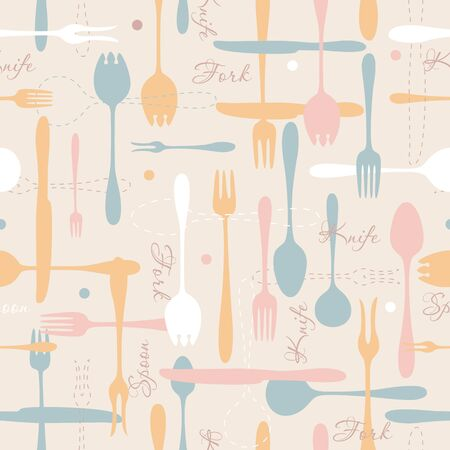 contours: Cutlery icon bright seamless pattern. Fork, knife, spoon silhouettes and contours in pastel colors